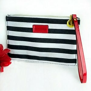 Sephora Black & White Striped Wristlet Makeup Bag